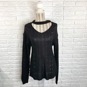New York Laundry Black Open Weave Sweater